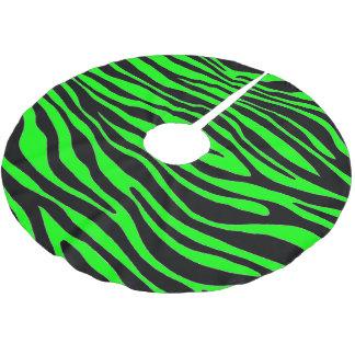 Lime Green Zebra Brushed Polyester Tree Skirt