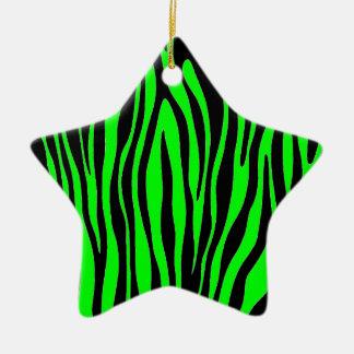 Lime Green Zebra Christmas Ornament