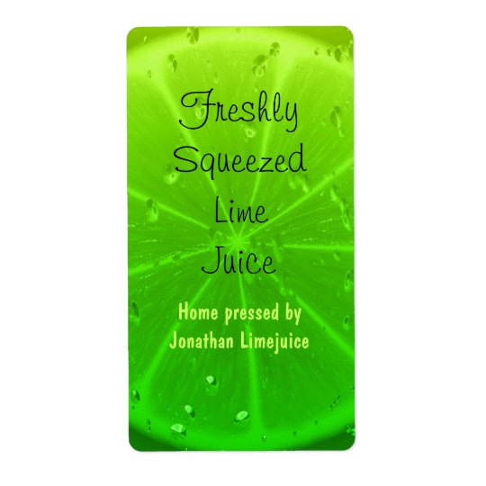 Lime juice bottle label shipping label