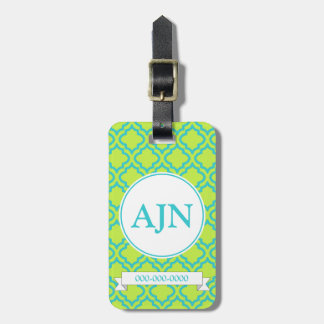 Lime Monogram Luggage Tag