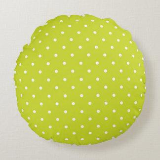 Lime Polka Dot Design Round Pillow