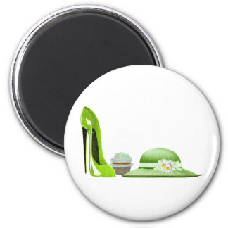 Lime Stiletto Shoe, Cupcake and Hat Magnet