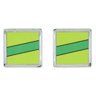 Lime strip cufflinks silver finish cufflinks