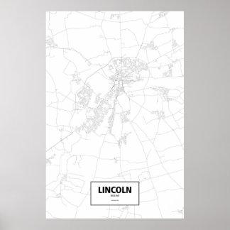 Lincoln, England (black on white) Poster
