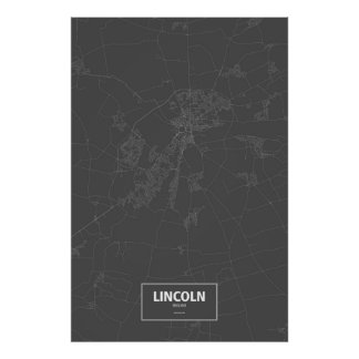 Lincoln, England (white on black) Poster