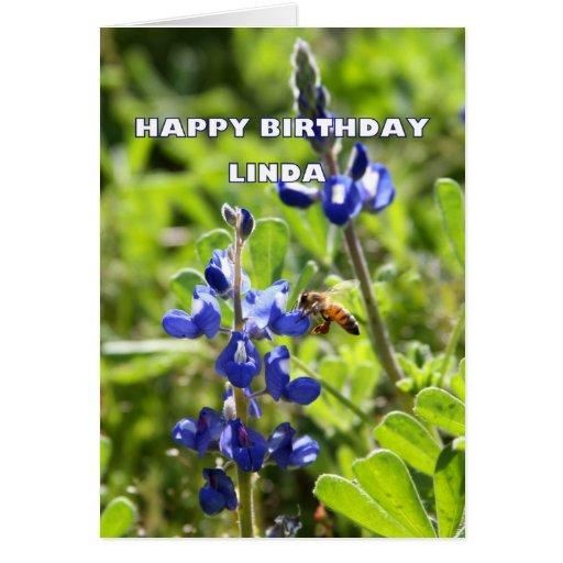 Linda Texas Bluebonnet Happy Birthday Card