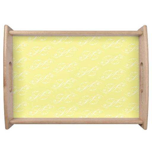 Line Artwork pattern yellows Serving Tray