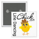 Line Dancing Chick Pinback Buttons