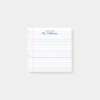 Lined Paper Look Personalised Teacher Post-it Notes