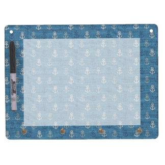 Linen Anchors on Blue Dry Erase Whiteboard