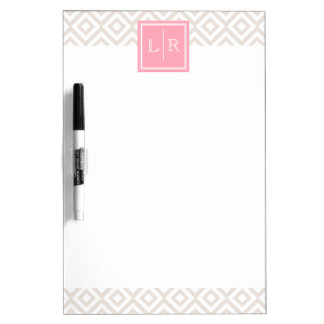 Linen and Pink Diamonds Pattern and Monogram Dry Erase Boards