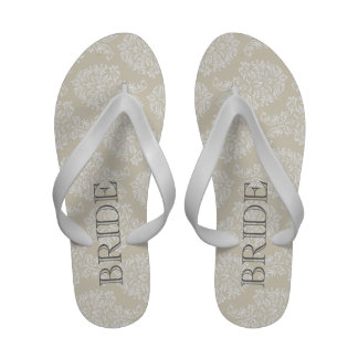 Linen Beige and Charcoal Damask Pattern Sandals