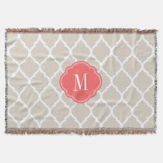 Linen Beige and Coral Moroccan Quatrefoil Monogram Throw Blanket