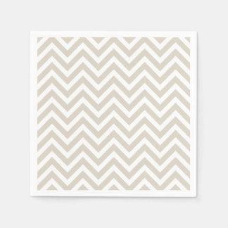 Linen Beige and White Chevron Paper Serviettes