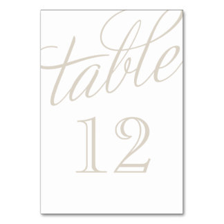 Linen Beige and White Elegant Script Table Numbers