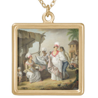 Linen Market, Roseau, Dominica, c.1780 (oil on can Gold Plated Necklace