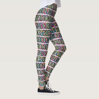 linked floral rings leggings