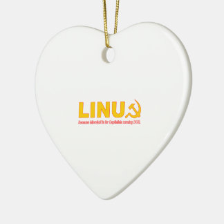 Linux because Microsoft is for capitalists Ceramic Heart Decoration