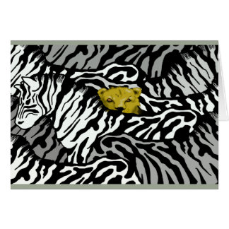 LION AND ZEBRAS GREETING CARD