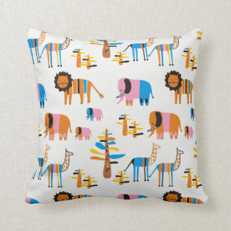 Lion, elephant with baby elephants throw pillow