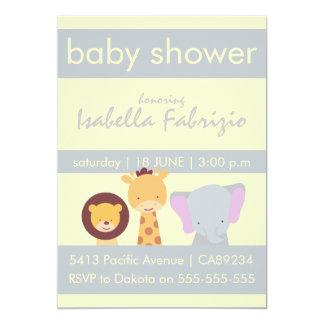 Lion Giraffe Elephant Yellow & Grey Baby Shower 13 Cm X 18 Cm Invitation Card