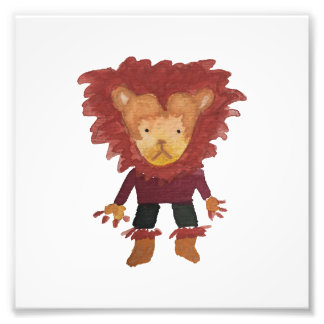 Lion Jungle Friends Baby Animal Water Color Photograph