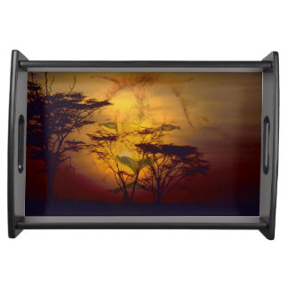 Lion Looking Over African Sunset Serving Tray