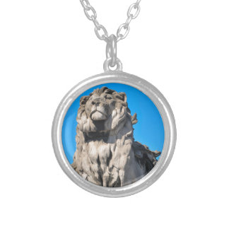 Lion statue silver plated necklace