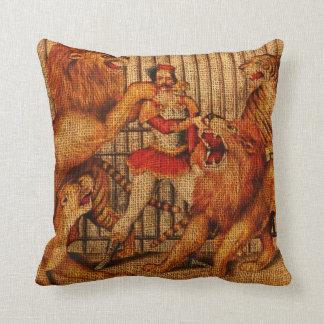 Lion Tamer Vintage Circus Throw Pillow