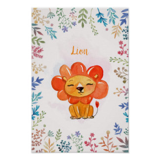 Lion watercolor flowers frame poster