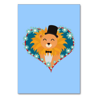 Lion with hat in flower heart Zdjpd Card