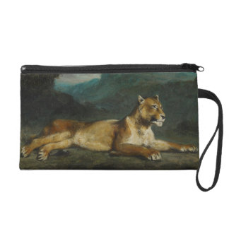 Lioness reclining, c.1855 (oil on panel) wristlet