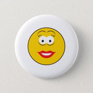 Lipstick Girl Smiley Face 6 Cm Round Badge
