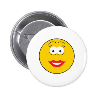 Lipstick Girl Smiley Face 6 Cm Round Badge