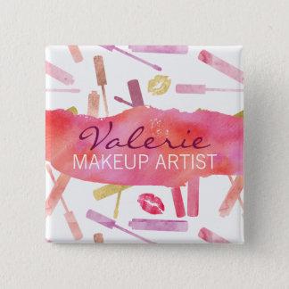 Lipsticks Glosses and Kiss Lip Prints Name Badge