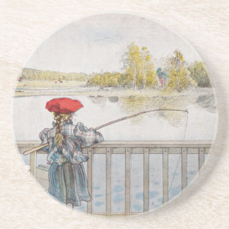 Lisbeth a Little Girl Fishing by Carl Larsson Coaster
