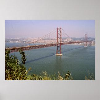Lisbon Portugal 25 de Abril Bridge River Tejo Print