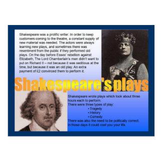 Literature, History, Shakespeare's Plays Postcard