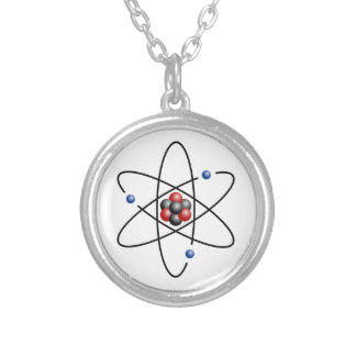Lithium Atom Chemical Element Li Atomic Number 3 Silver Plated Necklace