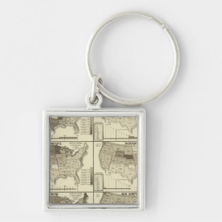 lithographed maps of United States Key Ring