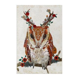 LITTLE AMBER ANTLER FLORAL OWL ACRYLIC WALL ART