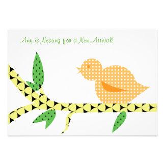 Little Bird Baby Shower - Orange Polka Dots Personalized Invites