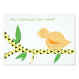 Little Bird Baby Shower - Orange Polka Dots 13 Cm X 18 Cm Invitation Card