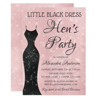 Little Black Dress Blush Pink Hen's Party Card