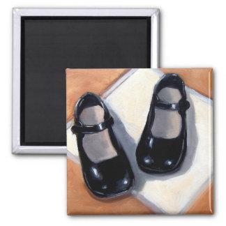 LITTLE BLACK GIRLS' SHOES: Original Art Refrigerator Magnet