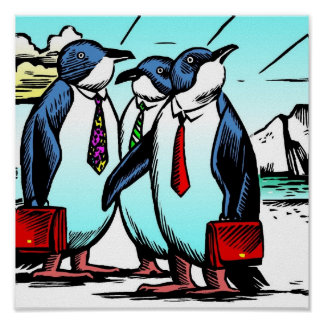 Little Blue Penguins by Frank Ybarra Poster