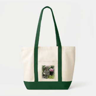 Little Boy and Bird Garden Statue Tote Bag