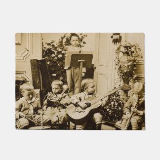 Little Boy Orchestra Band Musicians Vintage Music Doormat