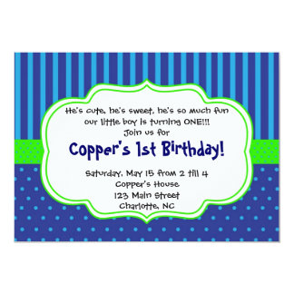 Little Boy Stripes and Dots Invitation