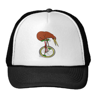 Little Brown Kiwi On A Red Unicycle Cap